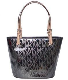 38863df98f885d Michael Kors MK Mirror Metallic Item MD Tote Shoulder Bag Handbag Purse -  Nickel | Traveling