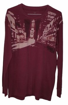 Marc Ecko Mens Maroon Long Sleeve Crew Neck Thermal Shirt XL #ECKO #Thermal
