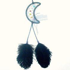 Metallic Black Moon Dream Catcher Ostrich by ArizonaDreams on Etsy, $30.00