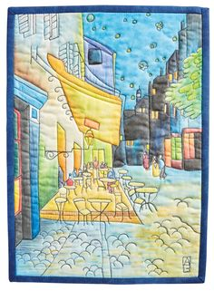 Learn how Ana Buzzalino free-motion quilts and paints on fabric to create these art quilts inspired by the masters. Thread Art, Thread Painting, Fabric Painting, Fabric Art, Fabric Crafts, Nancy Zieman, Quilt Art, Map Quilt, Free Motion Embroidery