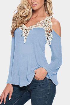 Light Blue Fashion Lace Flared Sleeve T-shirt - US$11.95 -YOINS