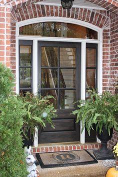 Front Door Color Design Ideas, Pictures, Remodel, and Decor - page 8 Front Door Design, Front Door Colors, Exterior House Colors, Exterior Doors, Exterior Paint, Painted Ladies, Stained Front Door, Red Brick Exteriors, Black Front Doors