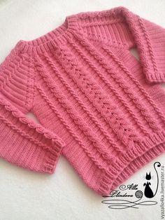 New ideas for crochet sweater kids pattern Crochet Sweater Design, Crochet Cardigan Pattern, Crochet Jacket, Crochet Girls, Crochet Baby Clothes, Crochet Cable, Fillet Crochet, Kids Patterns, Crochet Fashion