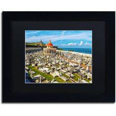 Trademark Fine Art Cementario de Santa Maria Canvas Art by CATeyes, Black Matte, Black Frame, Size: 16 x 20, Green