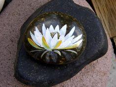 Sweet Gratitude delicately painted unique rock. $20.00, via Etsy.