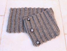 Crocheted Ribbed Button Up Cowl For Men and Women - creative jewish mom Crochet Cowl Free Pattern, Easy Crochet, Knit Crochet, Crochet Hats, Crochet Granny, Irish Crochet, Shawl Patterns, Knitting Patterns, Crochet Patterns