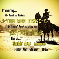 Gonna be whippin' up a wild one tonight with Thin Wire Fence at Smokin' Aces (Bournemouth). Live music from 10pm. Well, show me the way to the next whiskey bar...