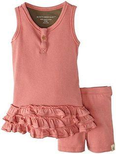 Burt's Bees Baby Girl Tank Dress & Shorts Set ~  Chrysanthemum (Rose) Color ~ #BurtsBeesBaby #DressyEveryday