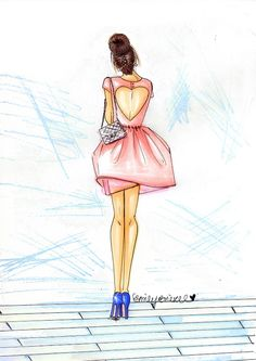 "Fashion Illustration print ""Bridesmaid"",  brunette heart cut-out pink dress bun By Emily Brickel"