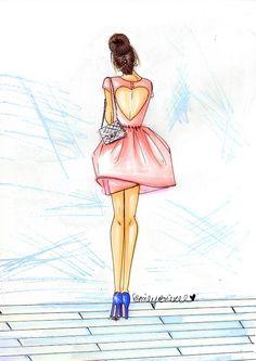 """Ilustración de moda de impresión de """"dama"""", bollo de corte vestido rosa morena corazón por Emily Brickel"""
