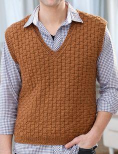Free Knitting Pattern for Men's Basketweave Vest - Textured vest in S, M, L, XL, XXL. Designed by Jodi Lewanda.