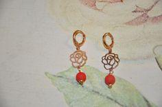 Crea Copine Collection - Earrings with rosé rose and red beads - Unique and handmade - Ordernumber CC-14-011 (Oorbellen met rosé roos en rode kralen - Uniek en handgemaakt - Bestelcode CC-14-011) - 15 euro + shipping costs