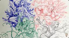 The four elementals Josiah Brooks a.k.a Jazza Ballpoint pen on paper 2017