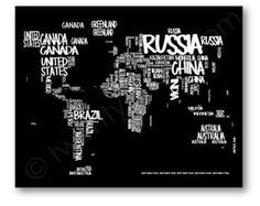 World map typography map canvas or art print choose any colors world map typography map print choose any colors by twenty3stars gumiabroncs Choice Image