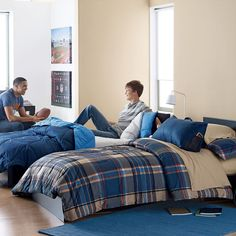 University Plaid Bedding in Blue
