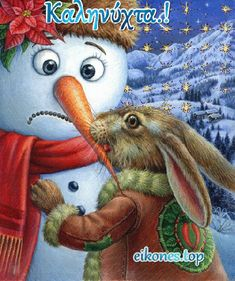"""""""There was a chubby snowman who had a carrot nose; along came a bunny, and what do you suppose? that hungry little bunny looking for some lunch, ate up that snowman's nose. Christmas Scenes, Christmas Love, Christmas Pictures, Christmas Snowman, Christmas Humor, Winter Christmas, Vintage Christmas, Christmas Crafts, Merry Christmas"""