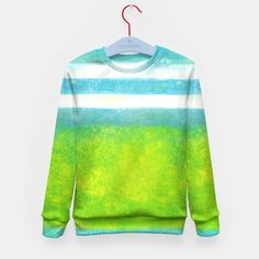 Blue Turquoise Green Nautical Abstract Art  Kid's Sweater Colorful Abstract Art, Brand Store, Art For Kids, Nautical, Turquoise, Live, Stylish, Sweatshirts, Green