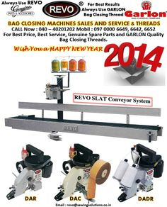 REVO Bag Closing Machines Single Needle Double Needle Heavy Conveyor Models AND GARLON Bag Closing Threads