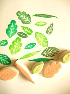 LEAF hand carved rubber stamps handmade rubber by talktothesun, $10.00