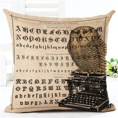 New Arrival Throw Pillow Cushion Home Decor Couch Newspaper With Owl Printed Linen Cuscino Square Cojines Almohadas Rustic Decorative Pillows, Decorative Pillow Cases, Owl Print, Printed Linen, Rustic Design, Pillow Covers, Newspaper, Throw Pillows, Couch