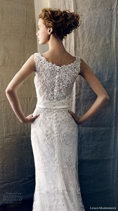 lusan mandongus 2017 bridal sleeveless scoop neckline full embellishment beaded elegant fit and flare wedding dress covered lace back chapel train (kappa) zbv -- Lusan Mandongus 2017 Bridal Collection