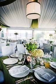 Green and white wedding decor (Southern Weddings mag)