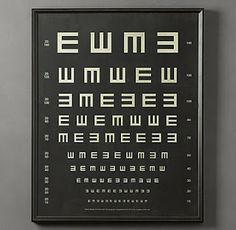 from Gardners 2 Bergers: ✥ Restoration Hardware Eye Chart Hack ✥