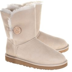 Ugg Bailey Button Sand Buttoned Shearling Boots ($310) ❤ liked on Polyvore