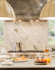 Kitchen. Fenchurch Pendant with marble slab backsplash