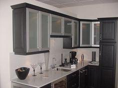 Dark Kitchen Cabinets With Glass Doors