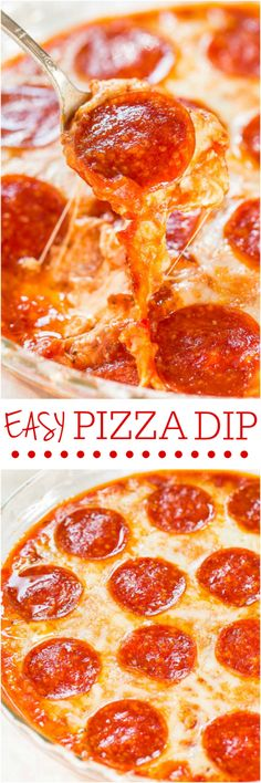 Easy Pizza Dip - Cheese lovers and pizza fans will love this fast and easy dip! Perfect party food that's a guaranteed hit! That CHEESE! (easy finger food for gender reveal) Yummy Recipes, Pizza Dip Recipes, Cooking Recipes, Yummy Food, Appetizer Dips, Appetizer Recipes, Football Food, Love Food, Hummus