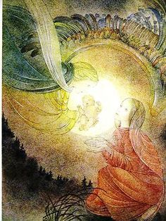 "Sulamith Wulfing 1937 ""THE GIFT"" ANGEL BRINGING BABY JESUS to MARY"