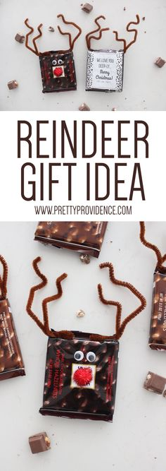 My kids had so much fun making these easy reindeer chocolate bars! A perfect fun and festive gift, not to mention delicious!