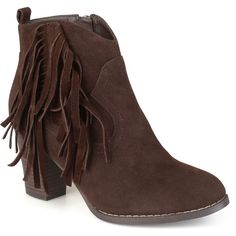 Journee Collection Spin Womens Booties ($70) ❤ liked on Polyvore featuring shoes, boots, ankle booties, ankle boots, side zip boots, fringe bootie, high heel ankle boots, fringe boots and fringe booties
