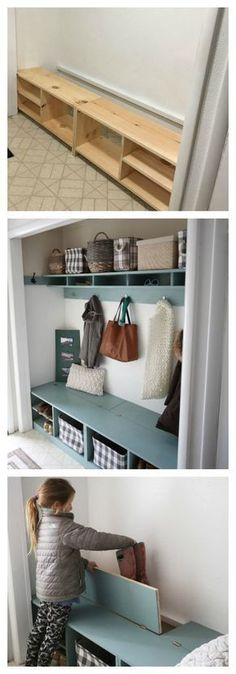 Ana White & Mudroom in a Closet & DIY Projects Ana White & Mudroom in a Closet & DIY Projects The post Ana White Entry Closet, Front Closet, Closet Mudroom, Hall Closet, Closet Bench, Build In Closet, Building A Closet, Shoe Shelf In Closet, Shoe Cubby