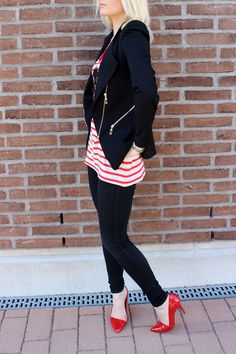 Blue blazer and Red Stripe Top - From secretwardrobe.bellablogit.fi