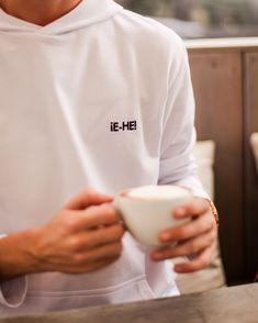 EHE Apparel white 100% cotton hoodie with shortened sleeves, oversized hood, and kangaroo pocket, with embroidered logo. White Hoodie, White Shop, Slow Fashion, Kangaroo, Chef Jackets, Street Wear, Pocket, Unisex, Hoodies