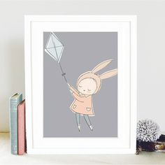 A4 Nursery Art Print - Bunny Girl Flying Kite