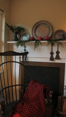 Like the simple lines of mantel and the chair-----Mugwump Woolies: ...more bits of Christmas