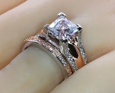 2CT Princess Cut Bold Cathedral Setting Rose Gold Plated Two Tone Wedding Engagement Ring Set on Storenvy