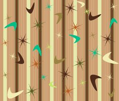 Curtain Pattern - Retro Diner Tan-Turq - alchemiedesign - Spoonflower