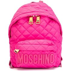 Moschino quilted backpack ($620) ❤ liked on Polyvore featuring bags, backpacks, backpack, mochilas, accessories, moschino backpack, zip top bag, quilted bag, pink quilted bag and moschino