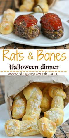 Meatloaf and Garlic Parmesan Breadsticks transform into a goulish dinner: Bloody Rats and Bones! #halloween #aprilfools