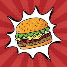 Art Pop, Pop Art Food, Cute Food Art, Pop Art Illustration, Food Illustrations, Pop Art Party, Fashion Sketch Template, Desenho Pop Art, Art Drawings For Kids