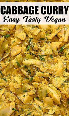 Vegetarian Cabbage Recipes, Vegan Dinner Recipes, Indian Food Recipes, Low Carb Recipes, Whole Food Recipes, Cooking Recipes, Vegetarian Recipes Videos, Vegan Vegetarian, Cabbage Curry