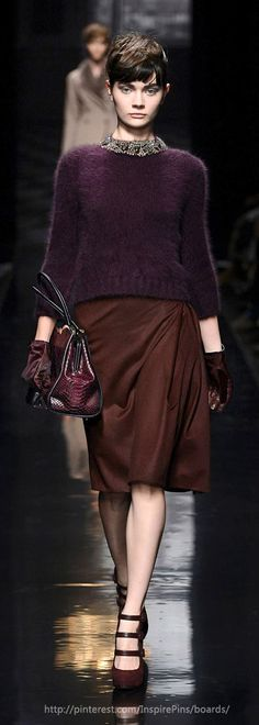 ~ Living a Beautiful Life ~ Plum sweater with Chocolate seed stitch cuffs and lower border; also Navy Blue with a Plum border. Ermanno Scervino FW2013
