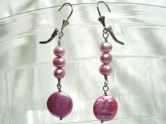 Freshwater Hot Pink Pearl Coin Earrings Solid by jpatterson312, $30.00