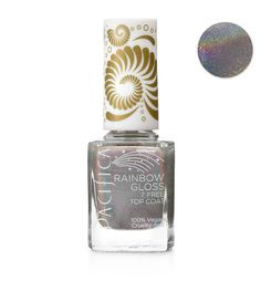 NEW! Pacifica Beauty Rainbow Gloss Top Coat 7 Free Nail Polish $12.00 This silver top coat (with rainbow opalescent finish) goes on smooth and stays put. Our new 7 Free Nail Polish is long lasting and void of many chemicals that one would find in traditional nail polish. Plus we have added a custom wide 100% vegan brush for easier application!