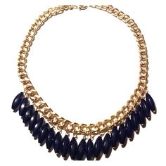 Navy Statement Necklace NWT Gold tone Chain with Navy Beads on this pretty statement necklace . New with Tag . Jewelry Necklaces