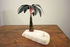 One of kind, table lamp Oispa Teneriffalla, 2017 fake palm, fake marble, plastic filler, LED 12V Hight 21 cm Teemu Salonen #design #lamps #contemporary
